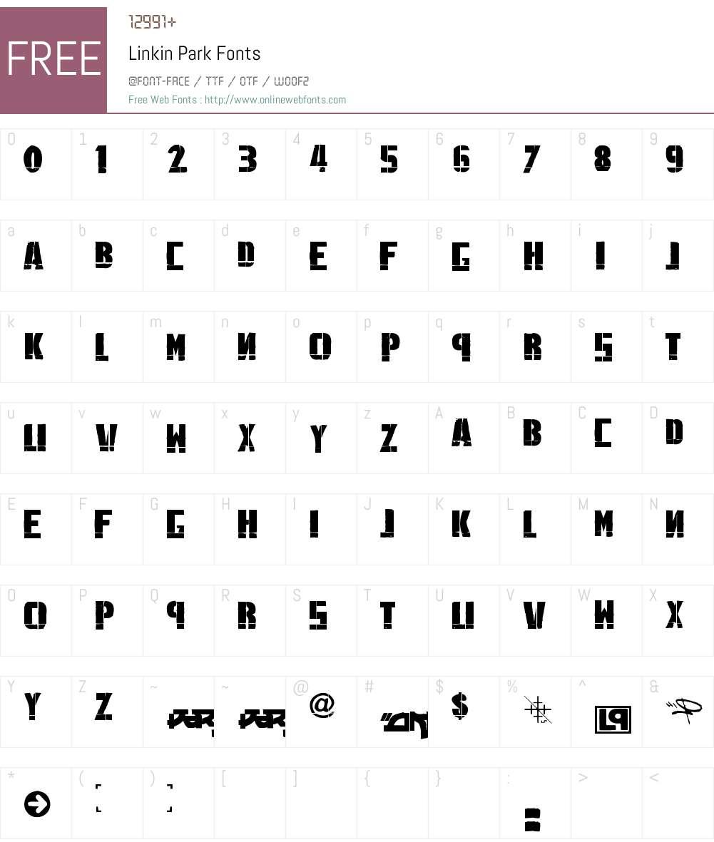 Linkin Park Font Screenshots