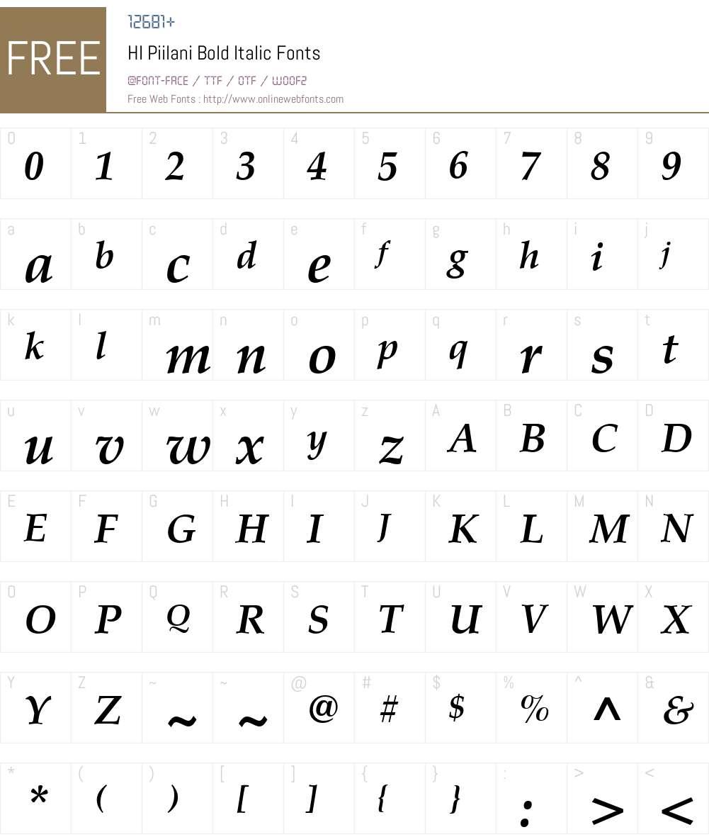 HI Piilani Bold Italic Font Screenshots