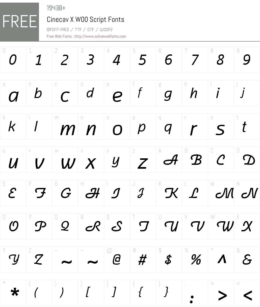 CinecavXW00-Script Font Screenshots