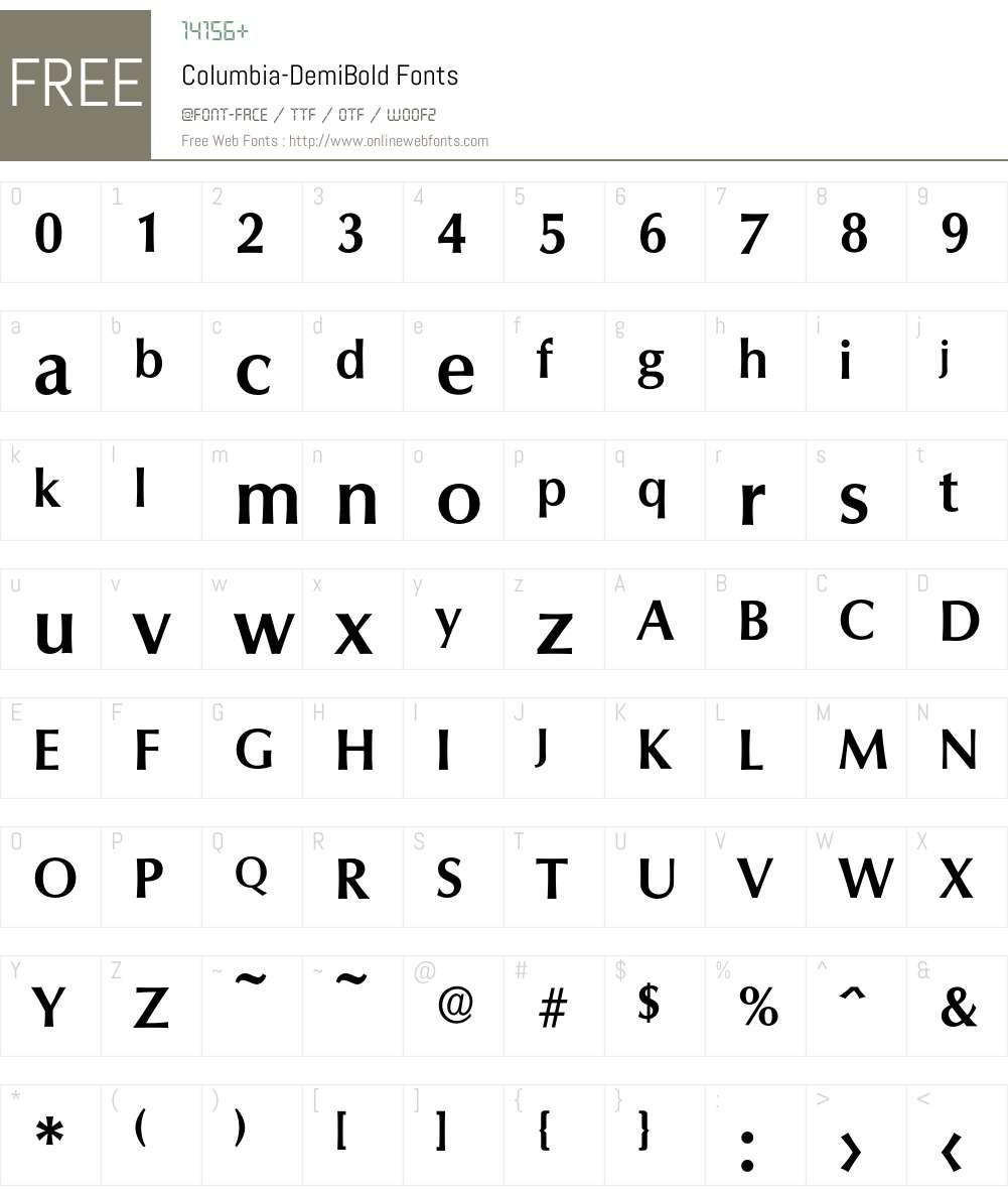 Columbia-DemiBold Font Screenshots