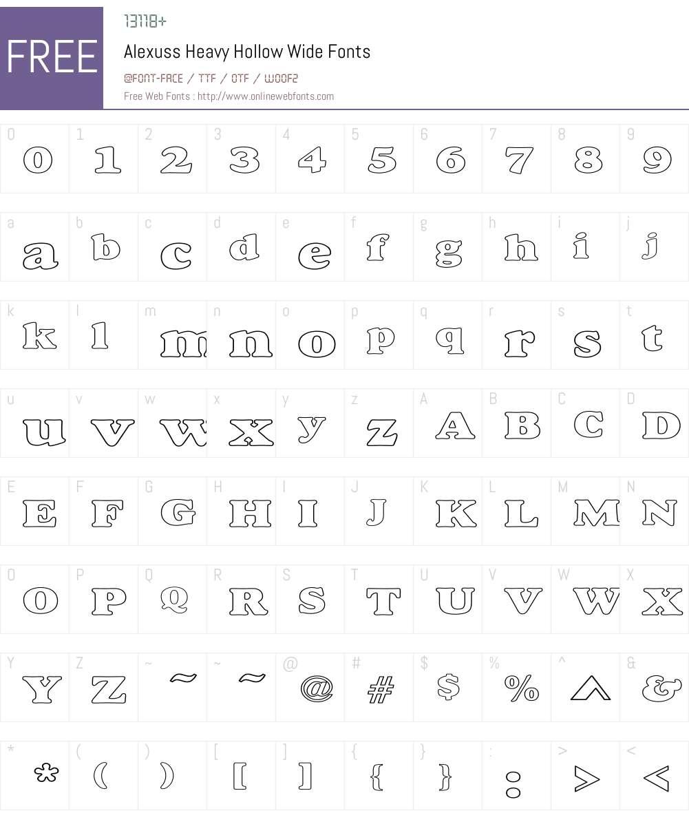 Alexuss Heavy Hollow Wide Font Screenshots