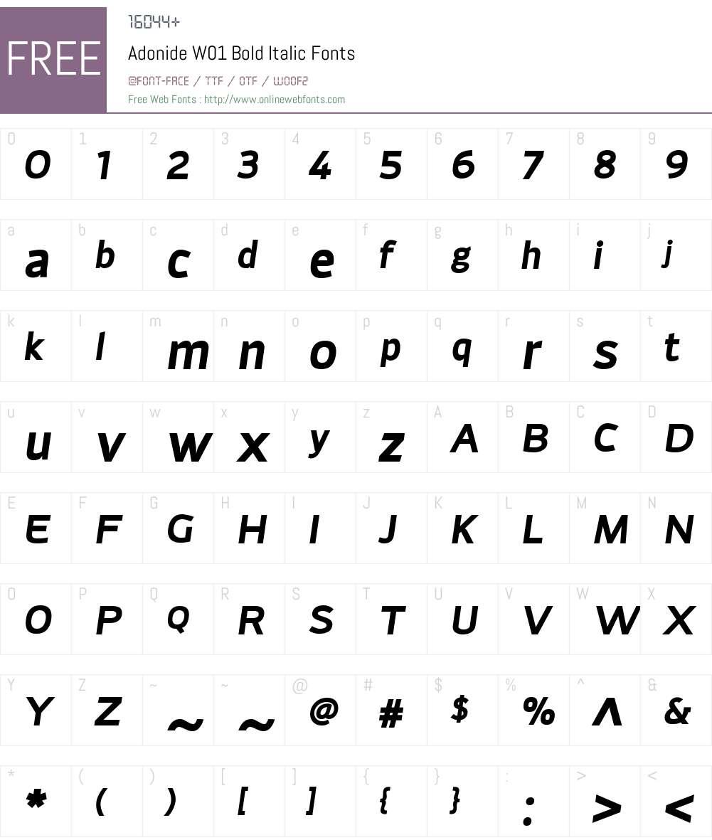 AdonideW01-BoldItalic Font Screenshots