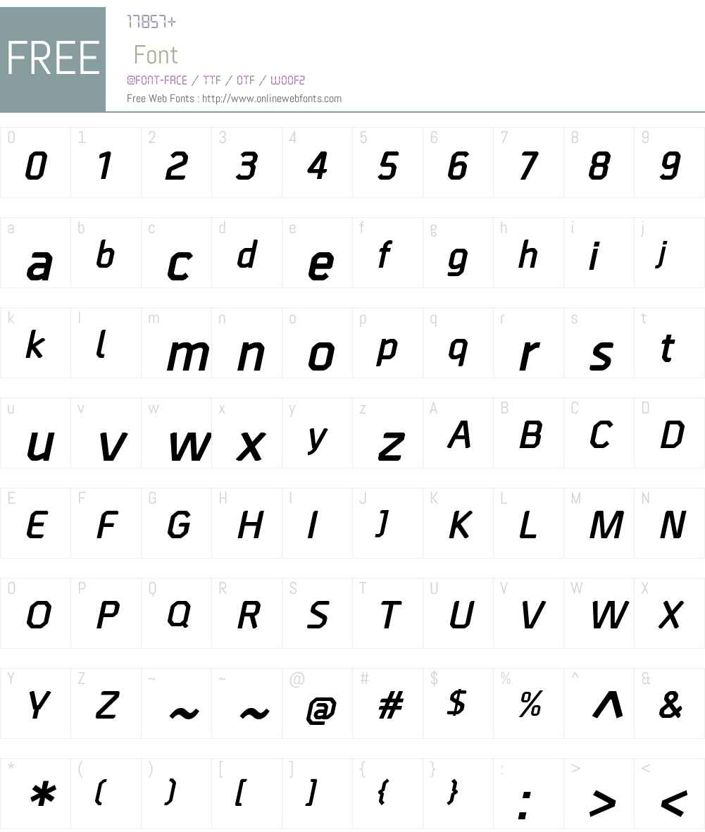 BordaW00-BoldItalic Font Screenshots