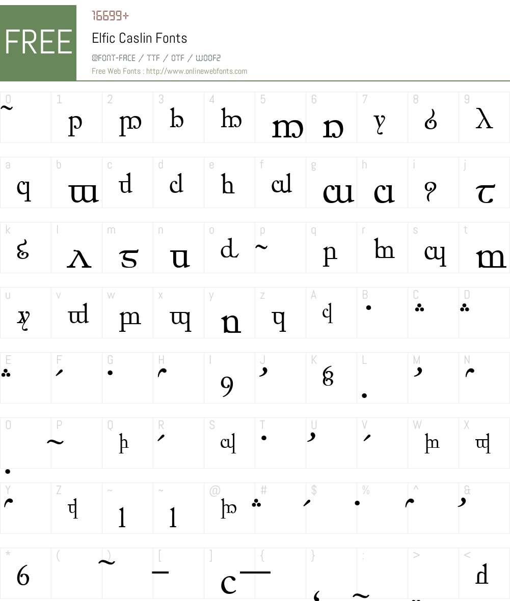 Elfic Caslin Font Screenshots