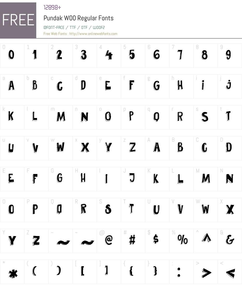 PundakW00-Regular Font Screenshots