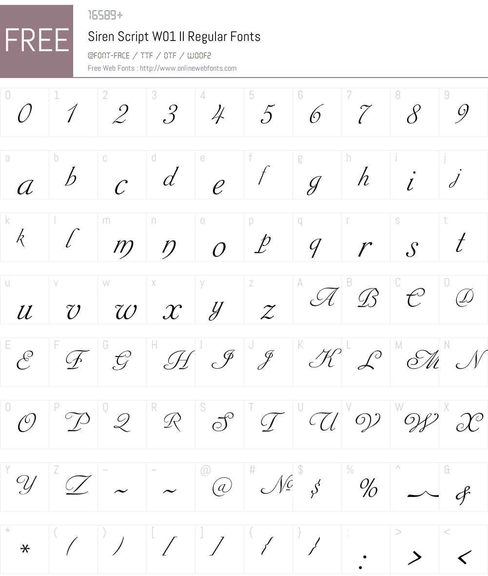 SirenScriptW01-IIRegular Font Screenshots