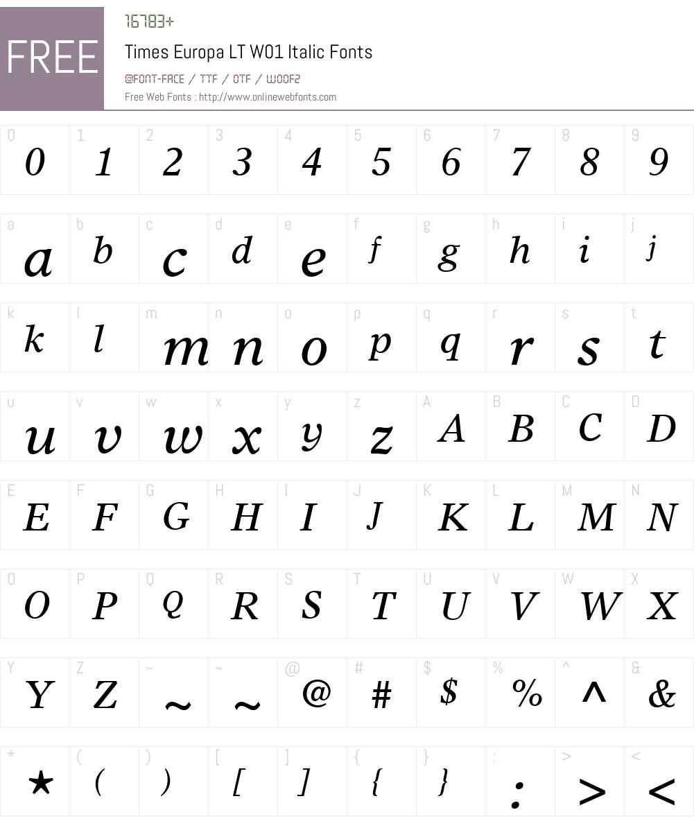 TimesEuropaLTW01-Italic Font Screenshots