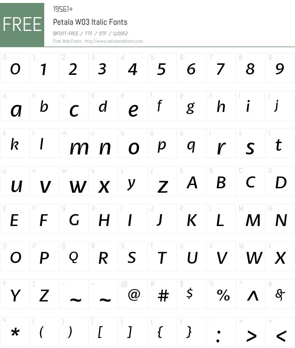 Petala Pro Font Screenshots