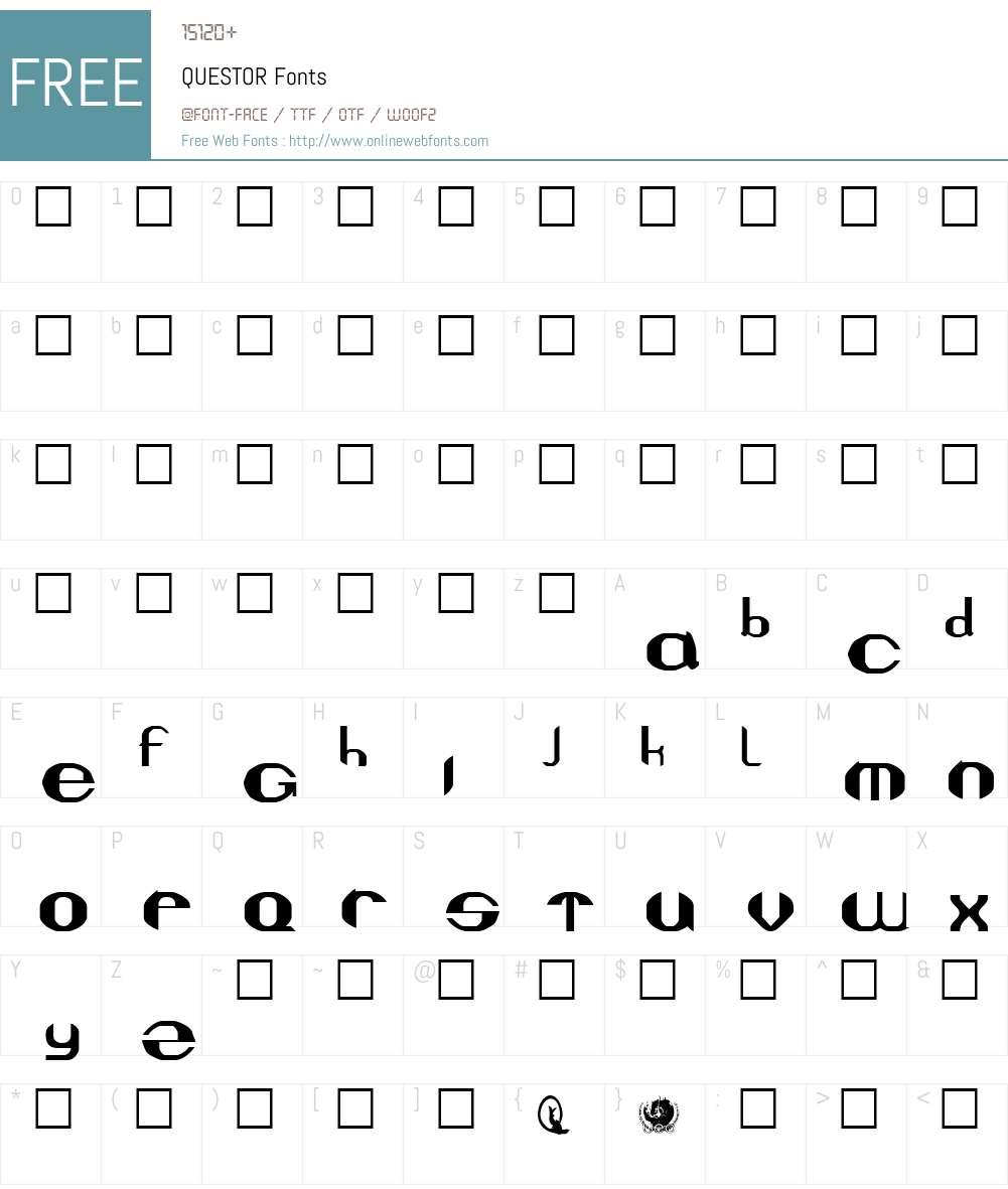 QUESTOR Font Screenshots