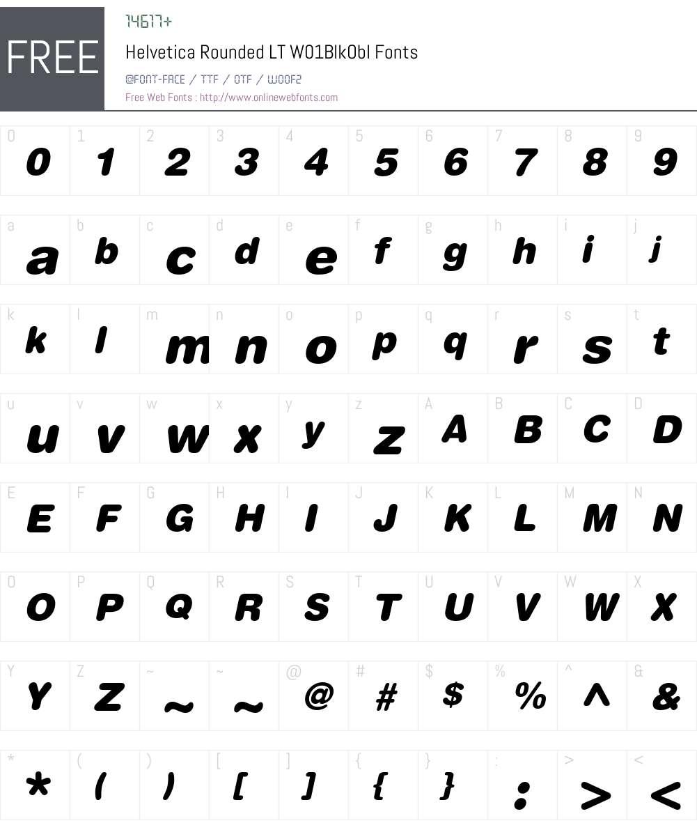 HelveticaRoundedLTW01-BlkObl Font Screenshots