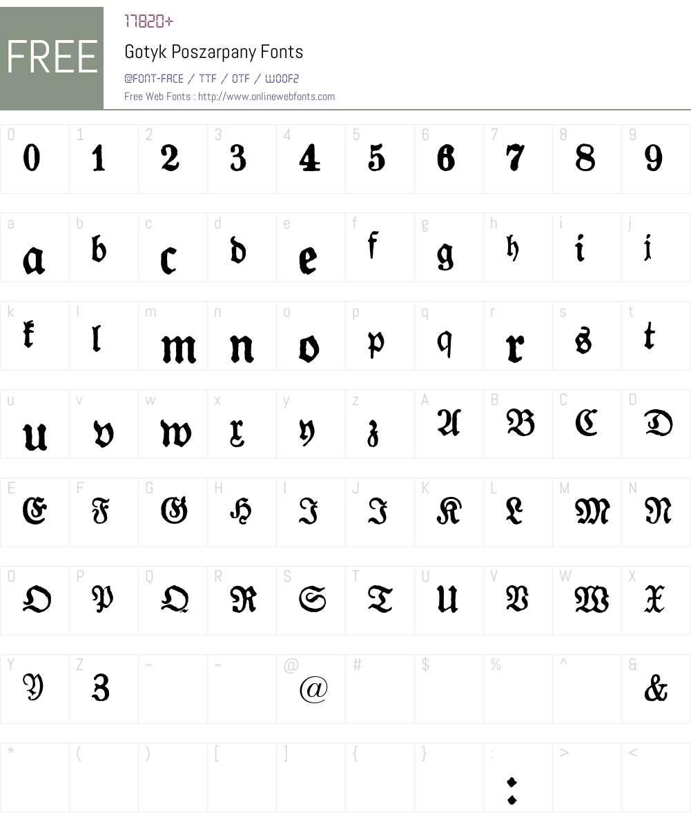 Gotyk Poszarpany Font Screenshots