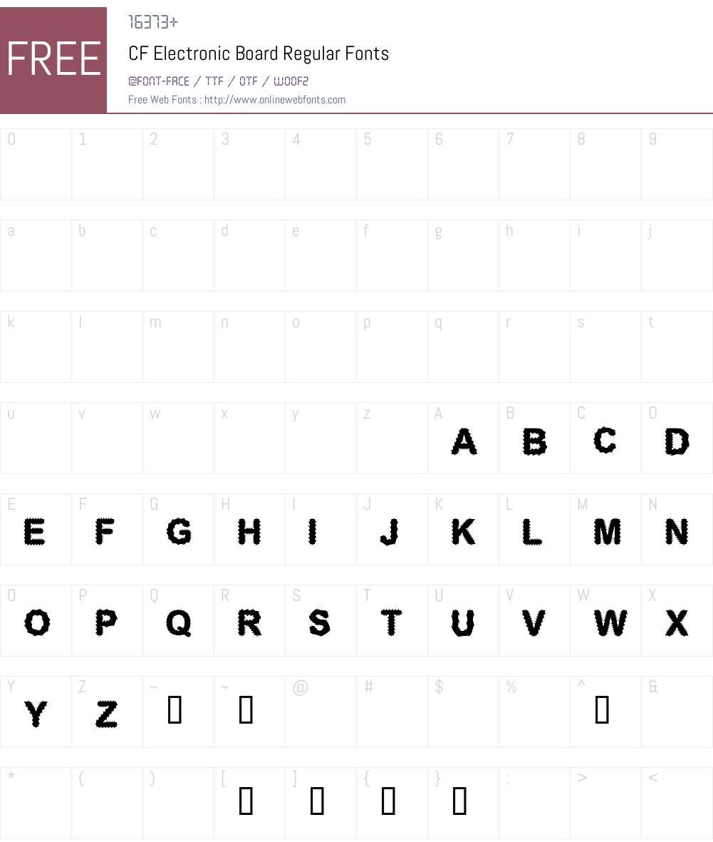 CF Electronic Board Font Screenshots