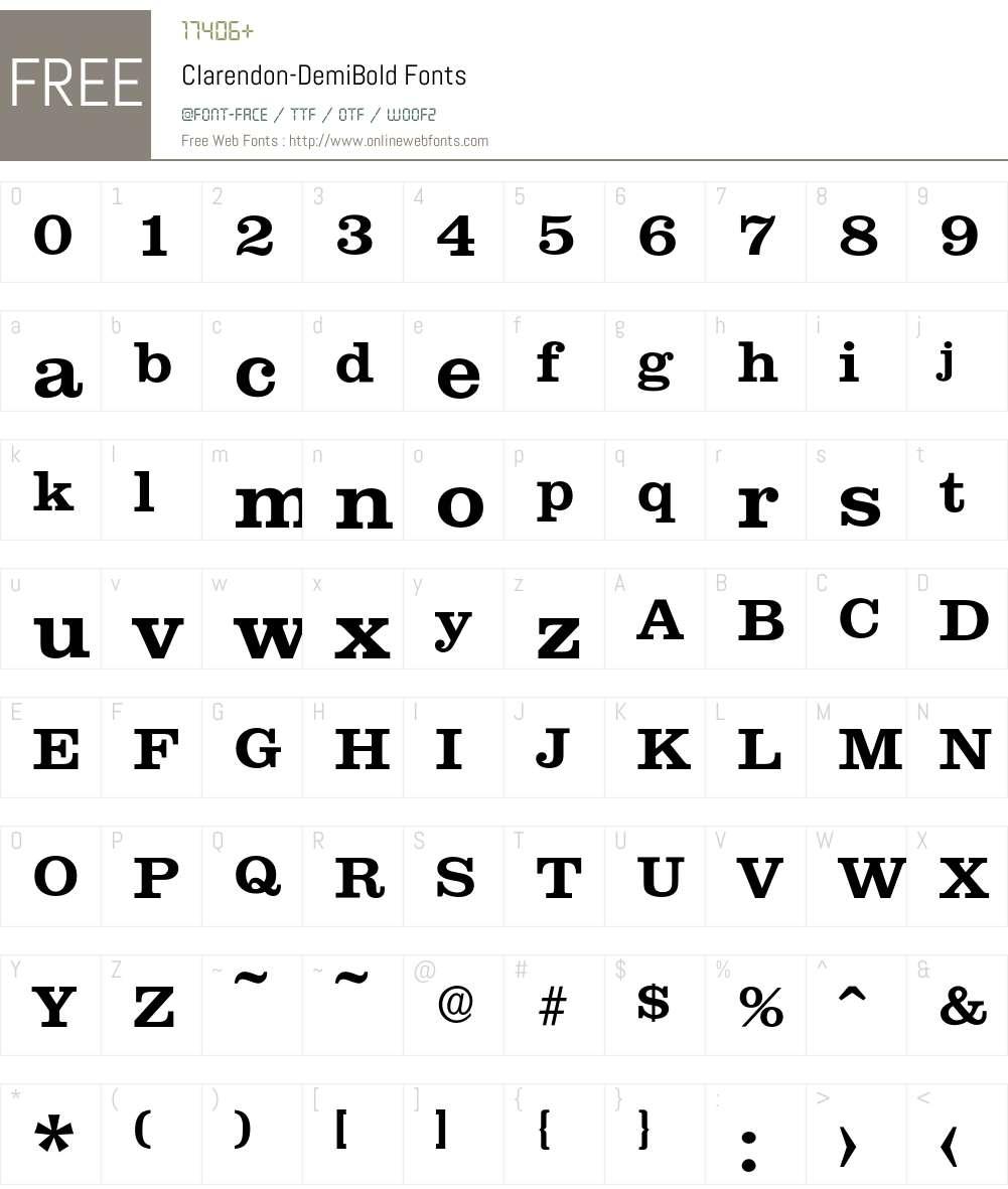 Clarendon-DemiBold Font Screenshots