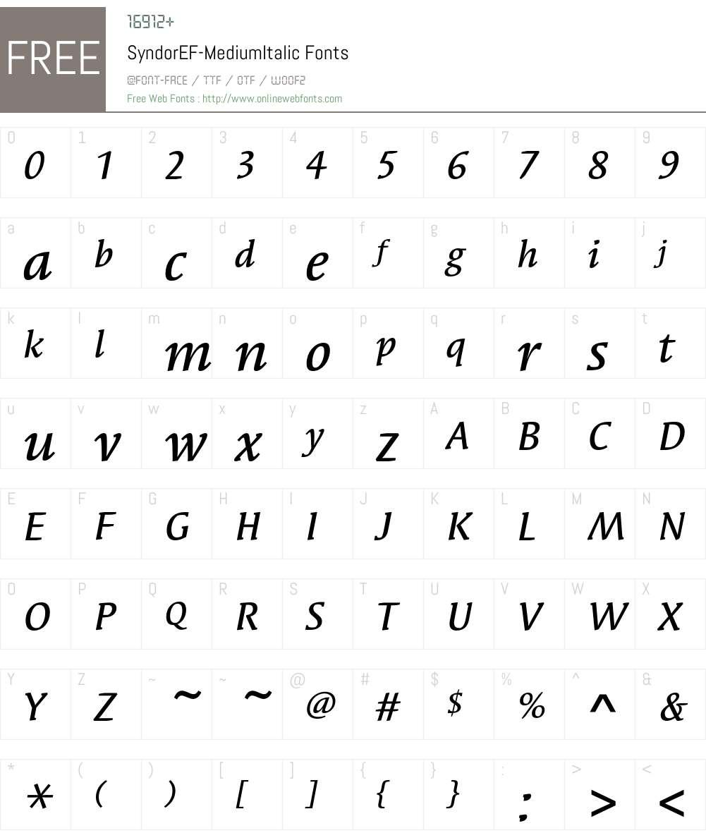 SyndorEF-MediumItalic Font Screenshots