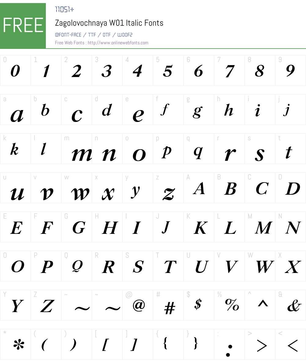 ZagolovochnayaW01-Italic Font Screenshots