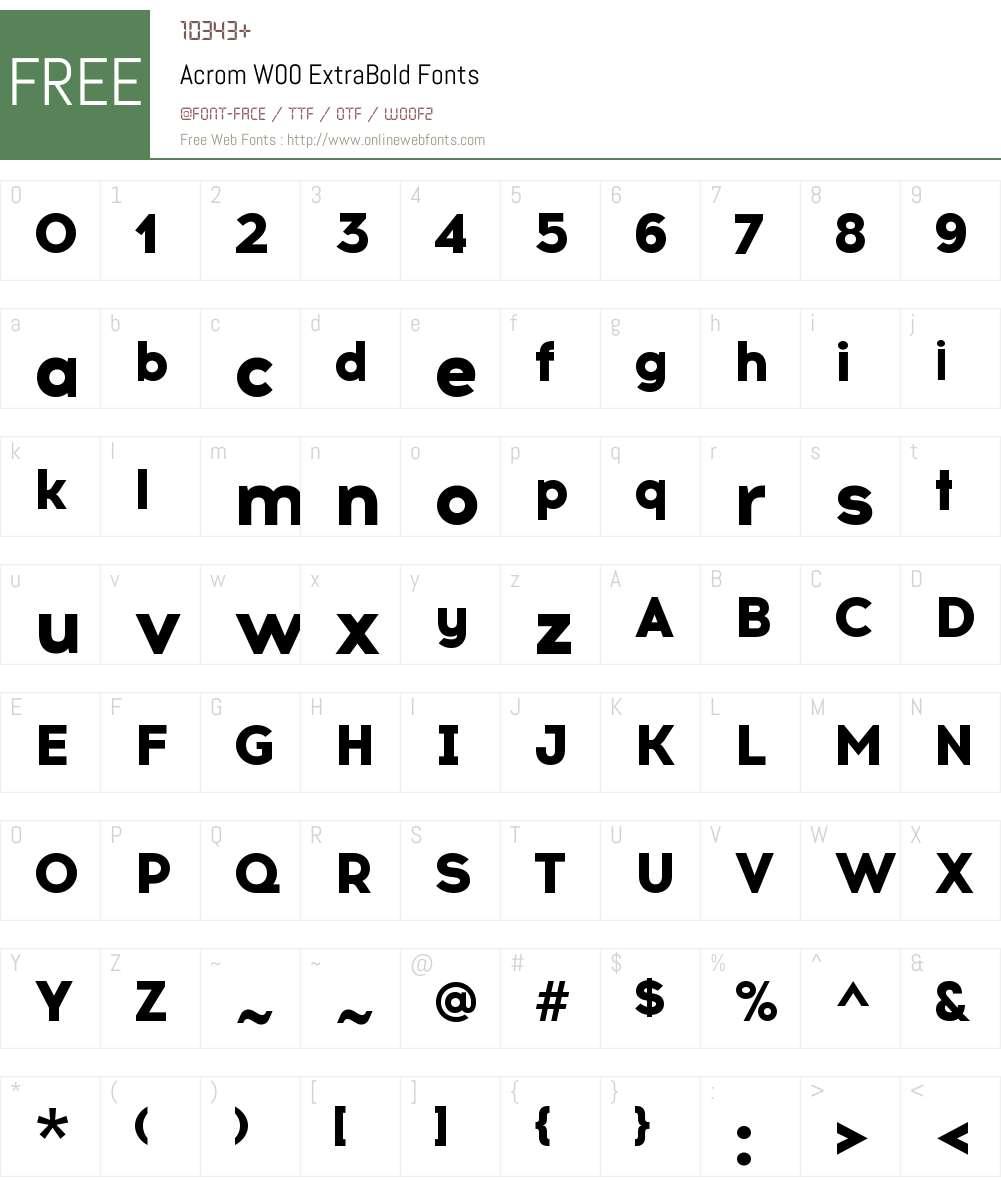 AcromW00-ExtraBold Font Screenshots