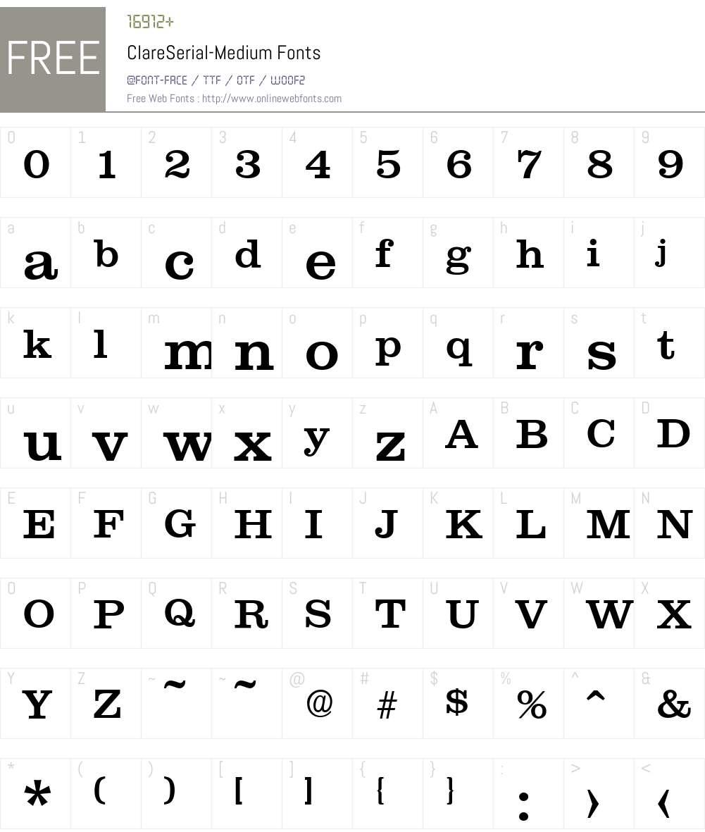 ClareSerial-Medium Font Screenshots