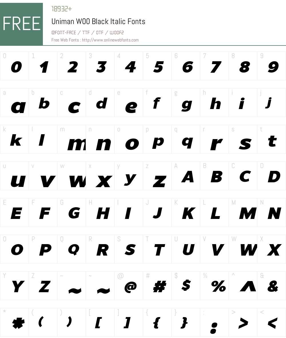 UnimanW00-BlackItalic Font Screenshots