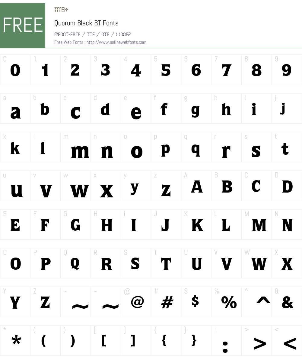 Quorum Blk BT Font Screenshots
