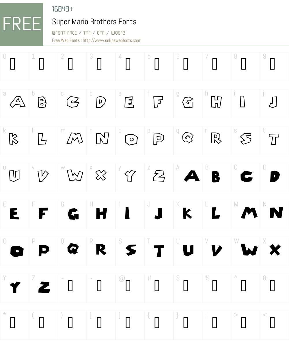 Super Mario Brothers Font Screenshots