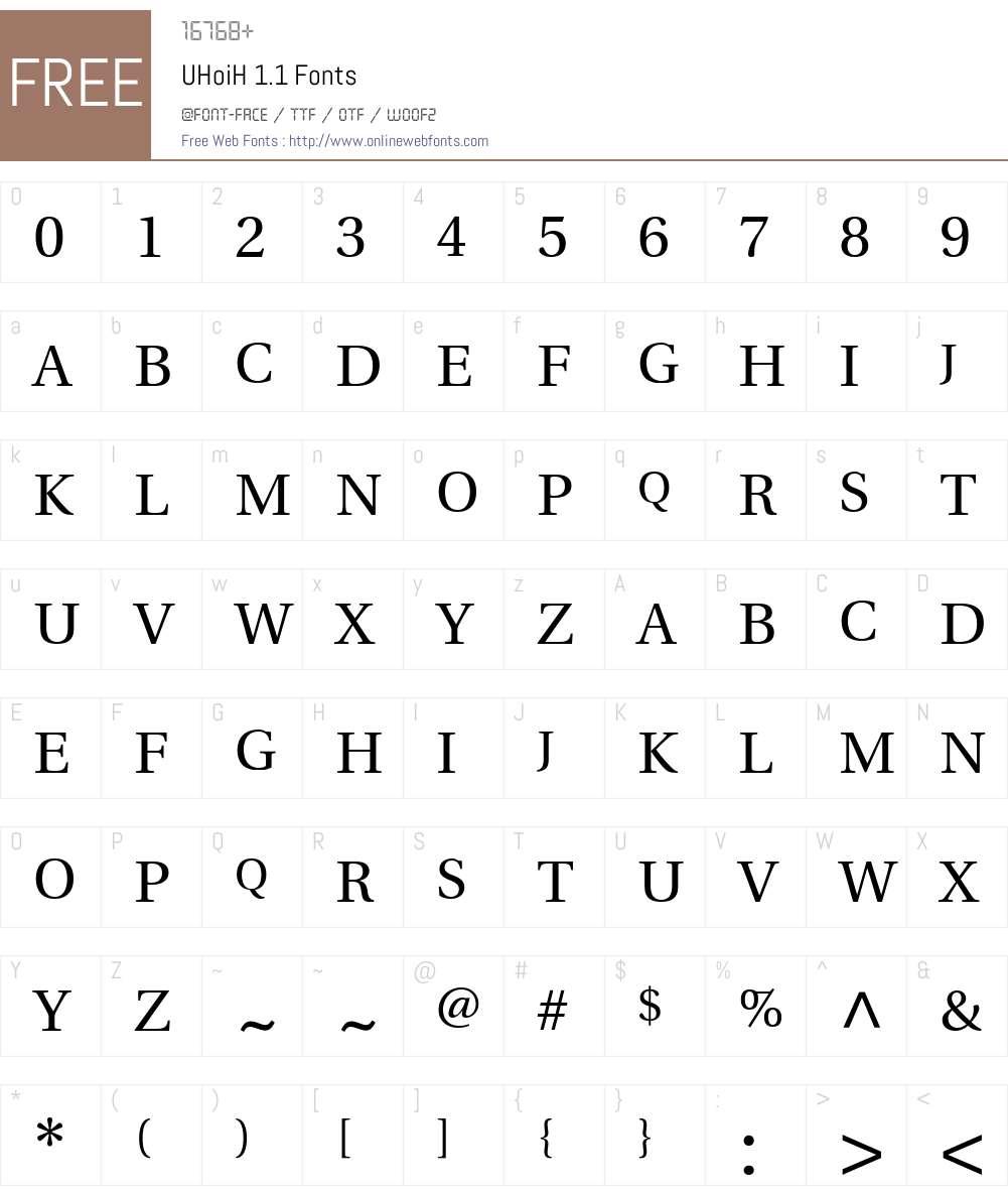 UHoiH 1.1 Font Screenshots