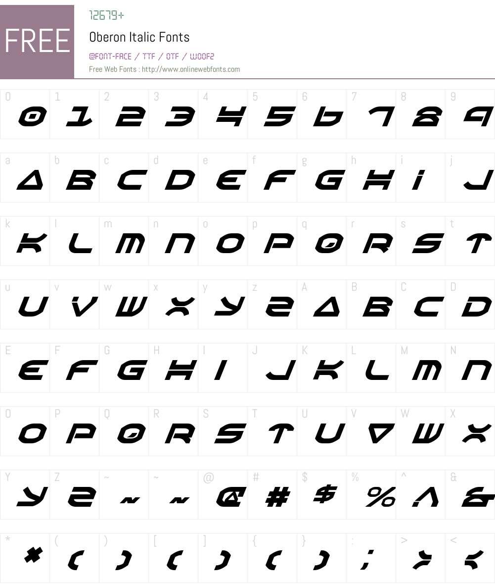 Oberon Italic Font Screenshots