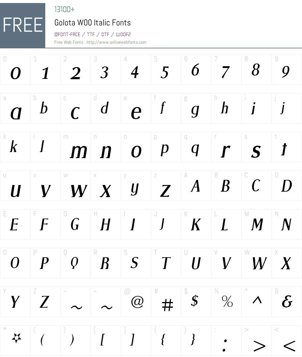 GolotaW00-Italic Font Screenshots