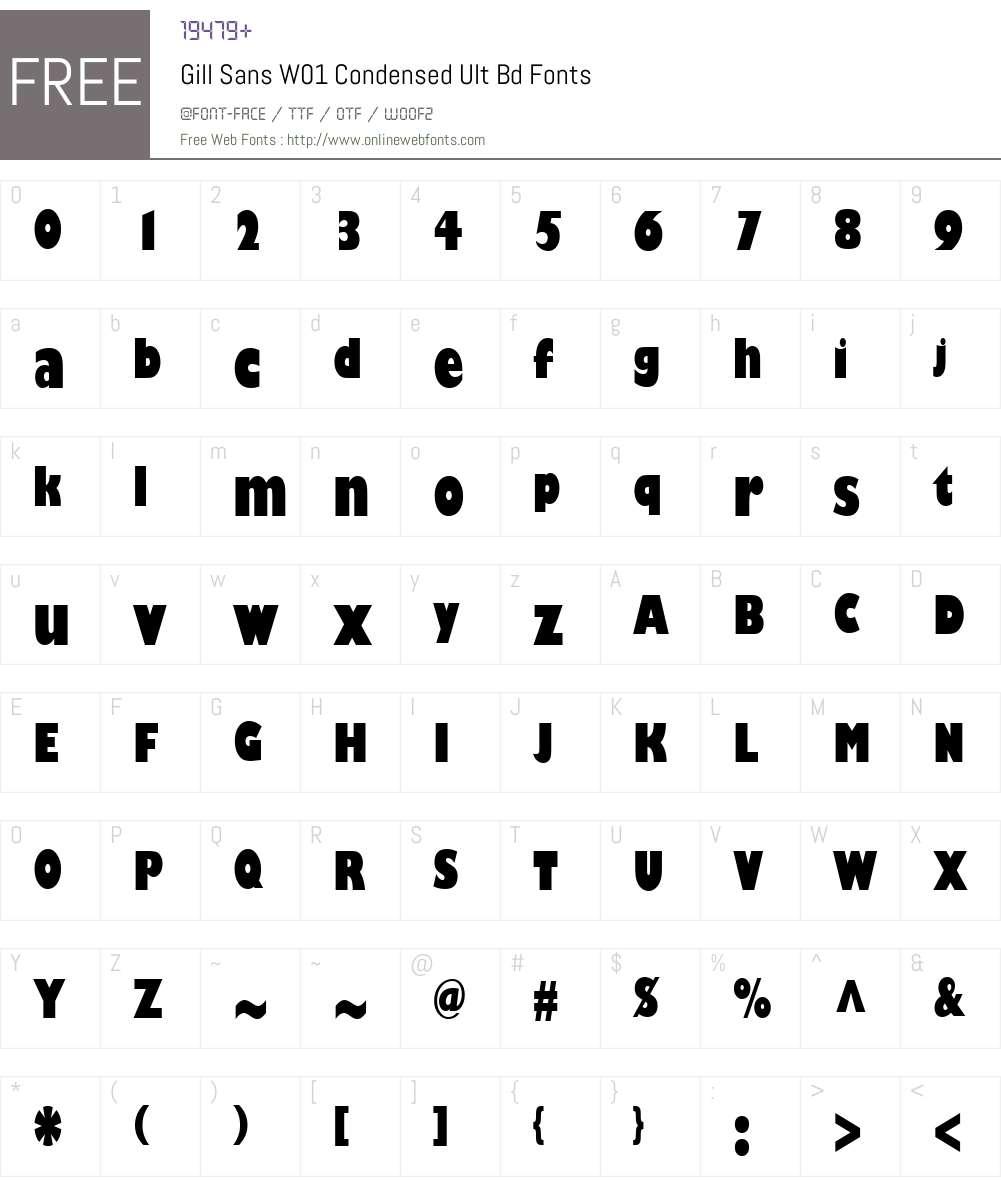 GillSansW01-CondensedUltBd Font Screenshots