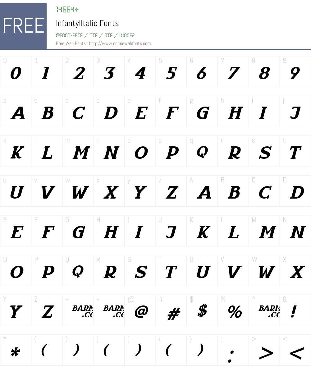 InfantylItalic Font Screenshots