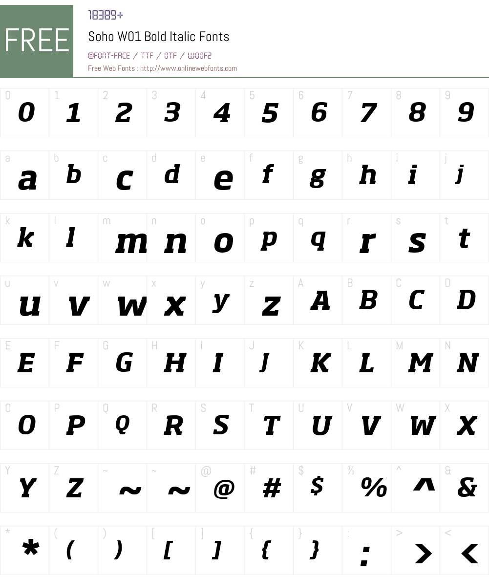 SohoW01-BoldItalic Font Screenshots
