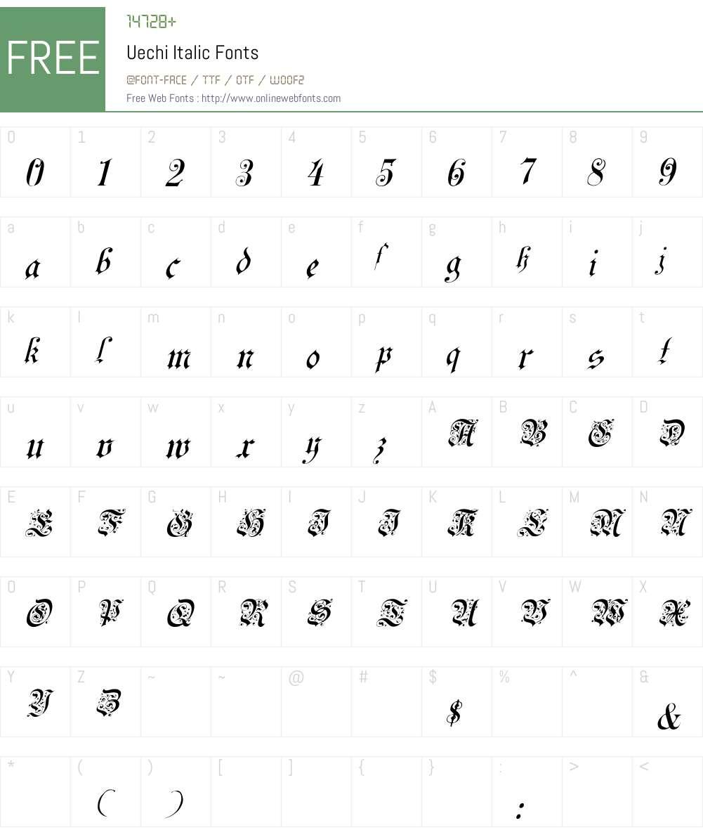 Uechi Italic Font Screenshots