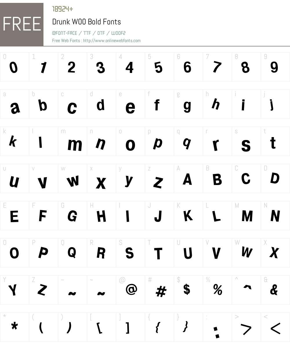 DrunkW00-Bold Font Screenshots