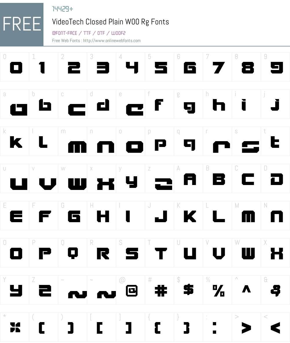 VideoTechClosedPlainW00-Rg Font Screenshots