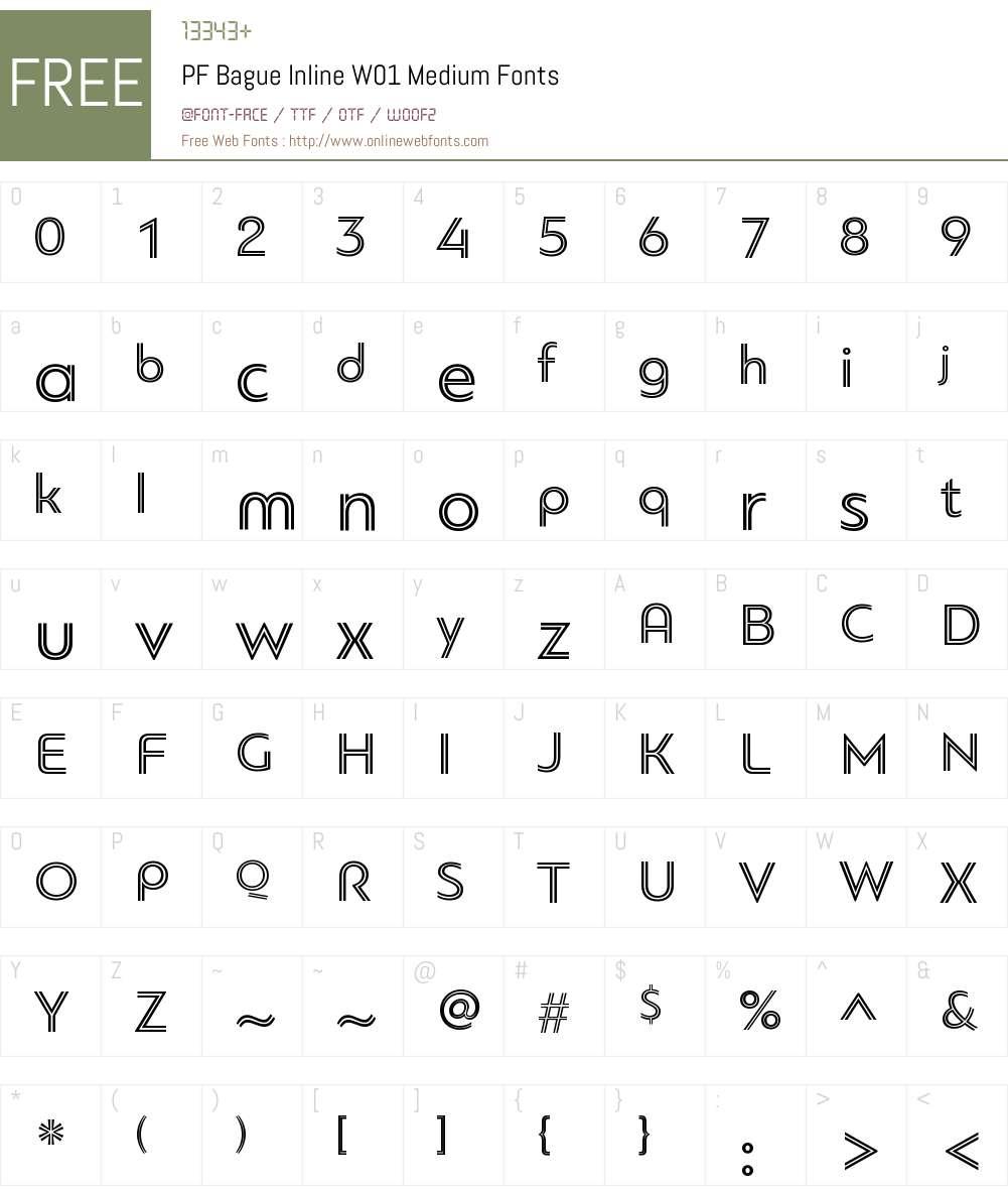 PFBagueInlineW01-Medium Font Screenshots