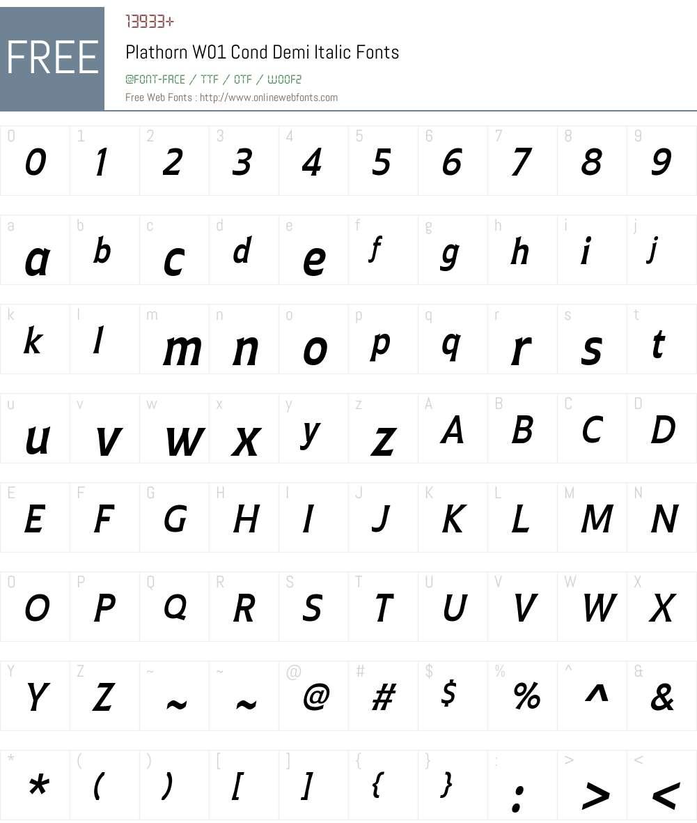 PlathornW01-CondDemiItalic Font Screenshots