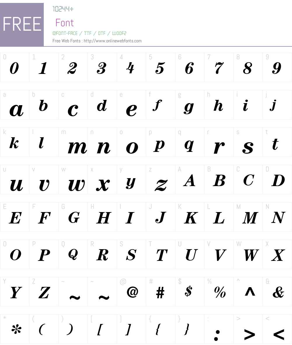 ITCCenturyW01-BoldItalic Font Screenshots