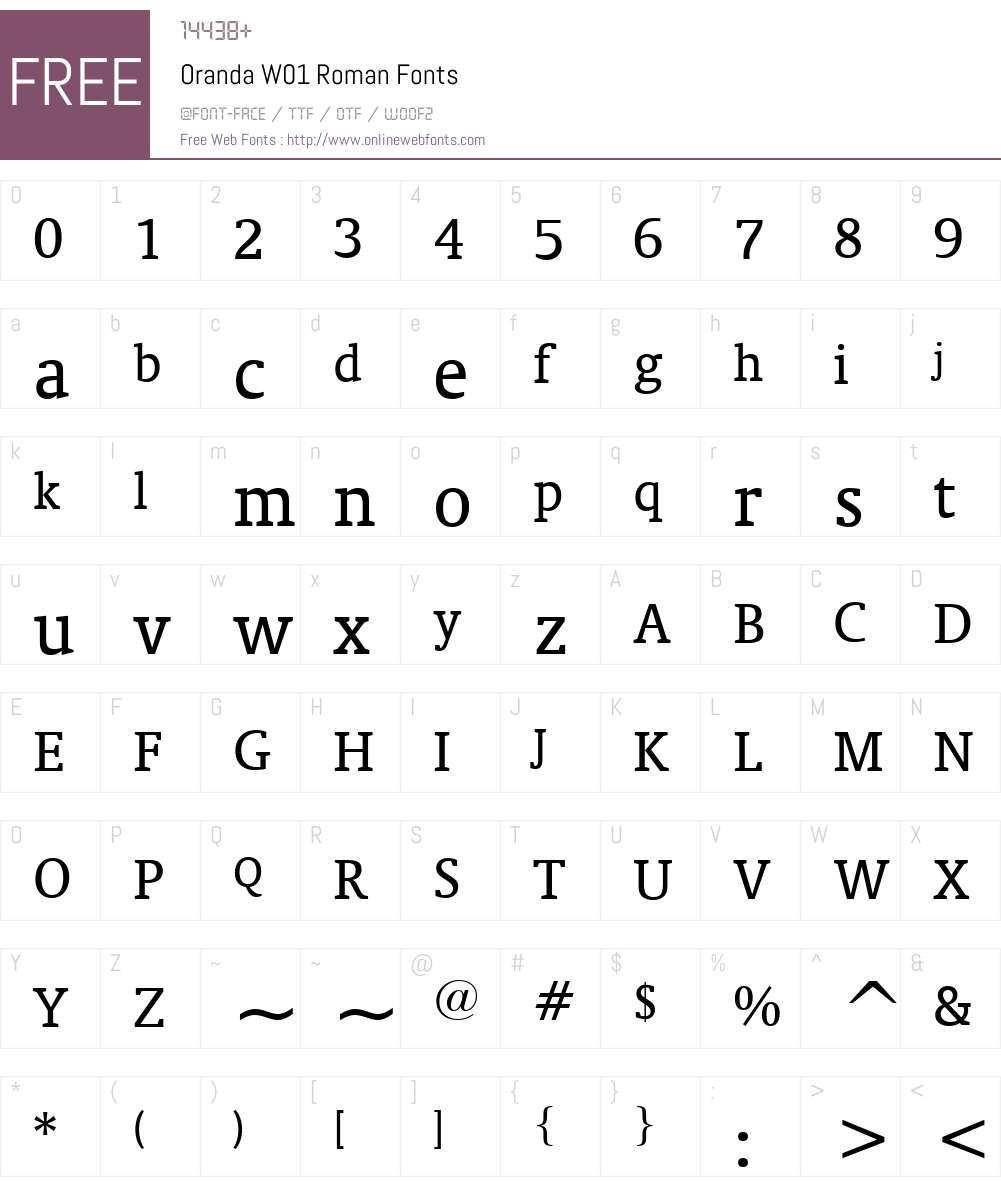 OrandaW01-Roman Font Screenshots