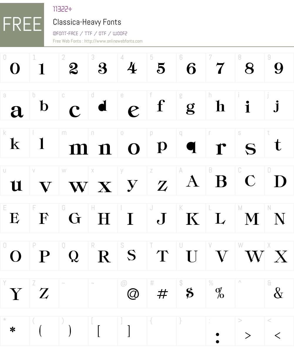 Classica-Heavy Font Screenshots