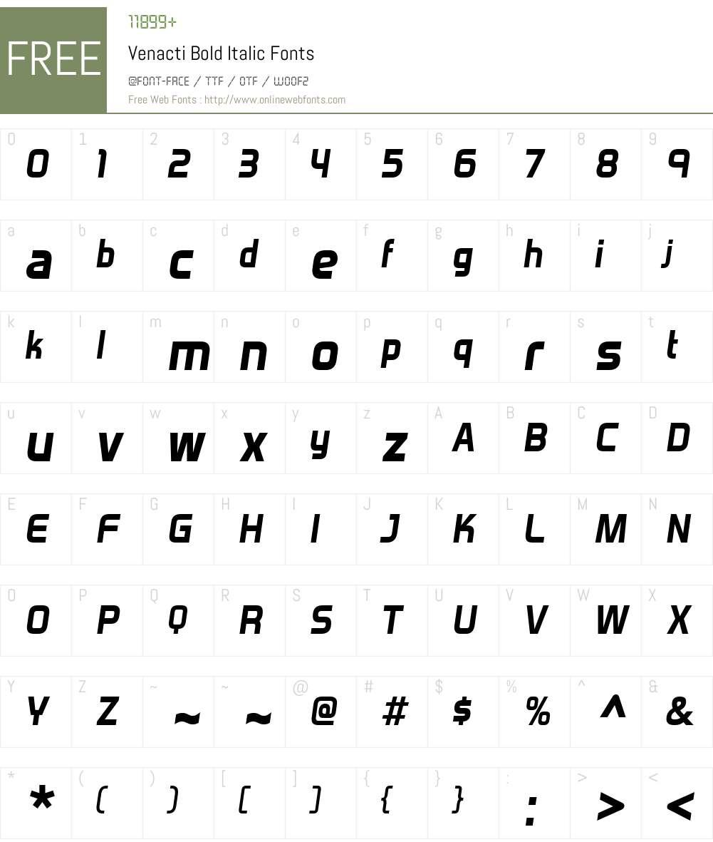 Venacti Font Screenshots