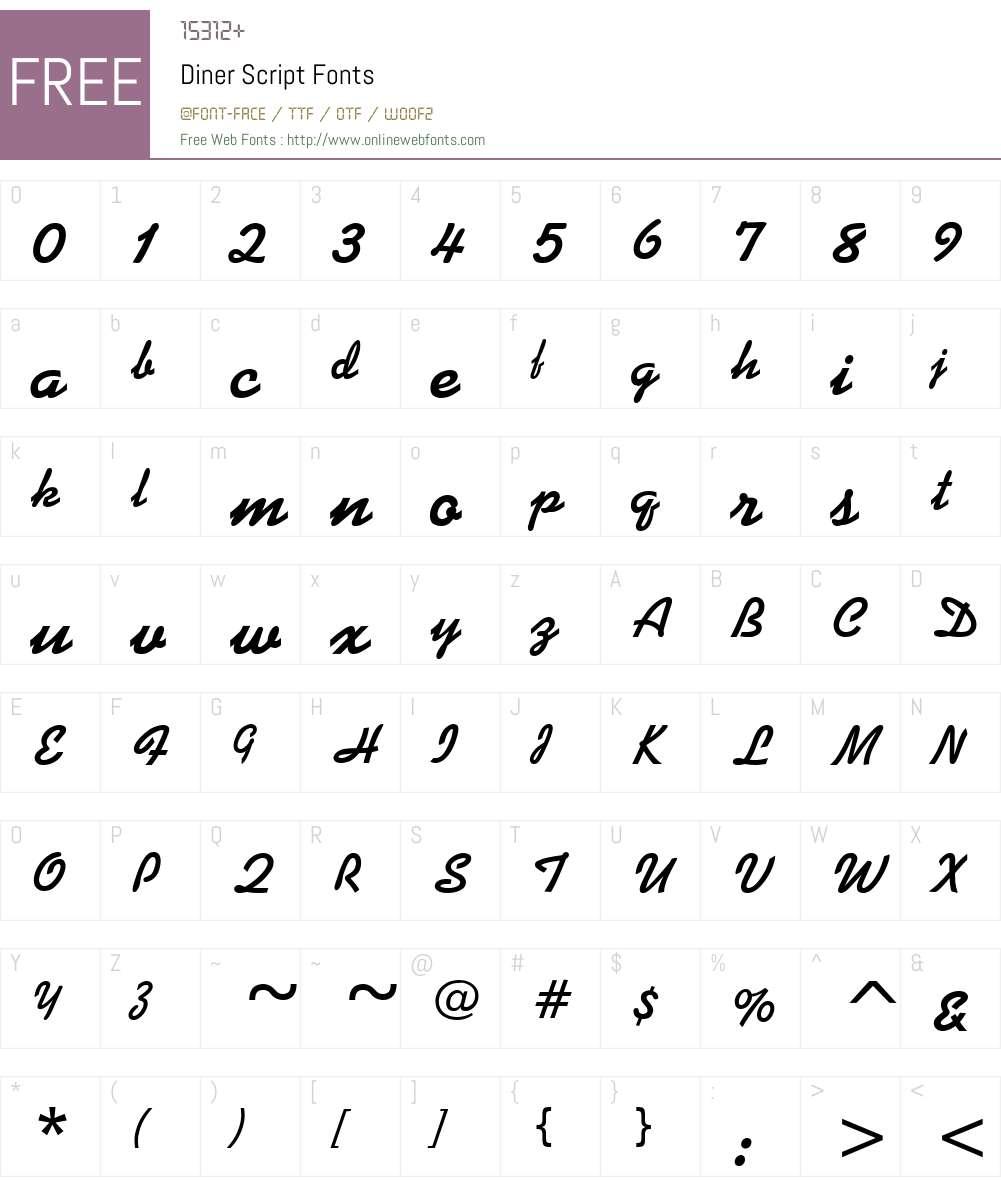 Diner Script Font Screenshots