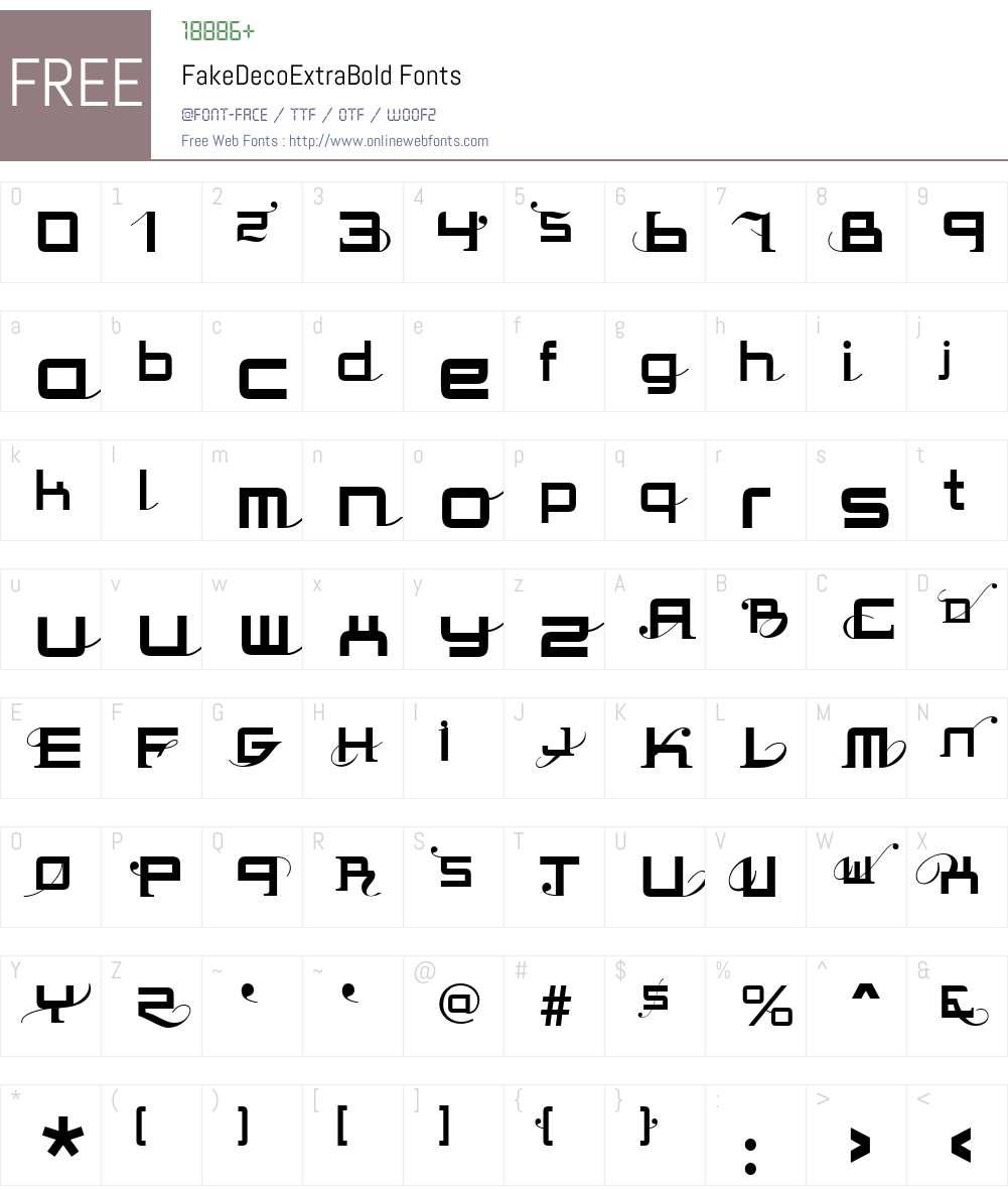 FakeDecoW00-ExtraBd Font Screenshots