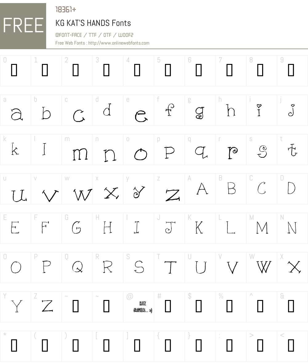 KG KAT'S HANDS Font Screenshots
