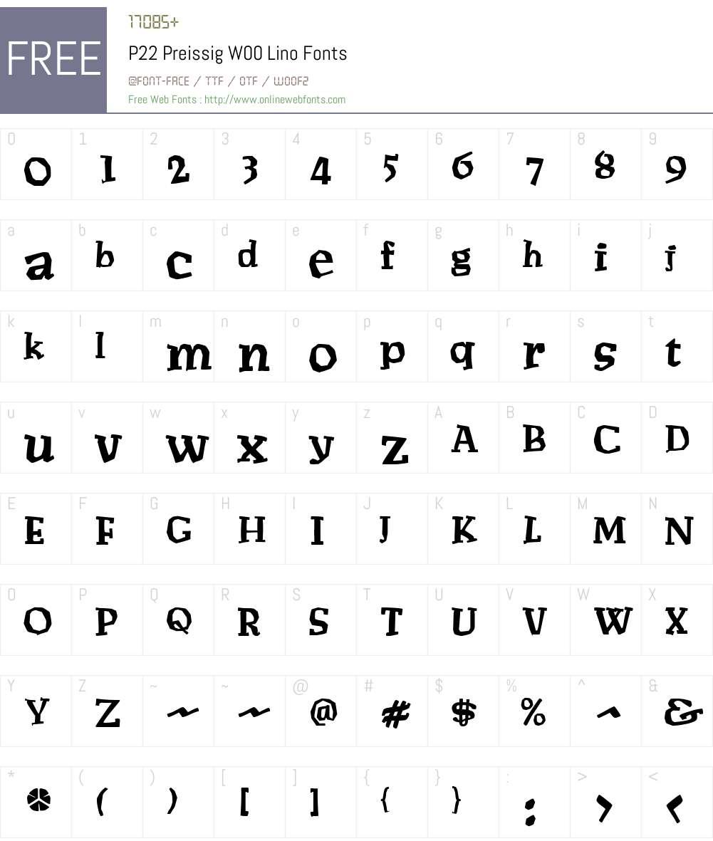 P22PreissigW00-Lino Font Screenshots