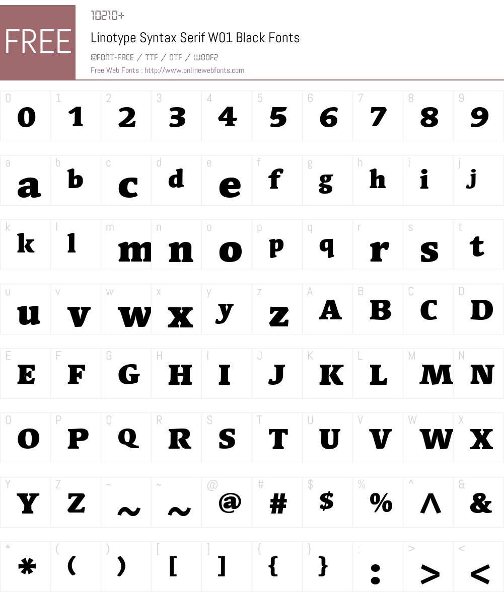 LinotypeSyntaxSerifW01-Bk Font Screenshots