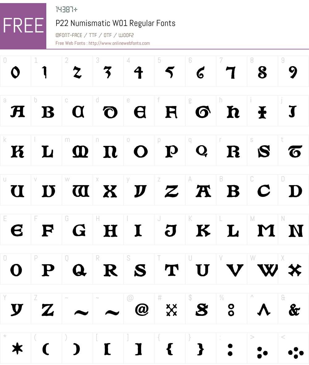 P22 Numismatic Font Screenshots