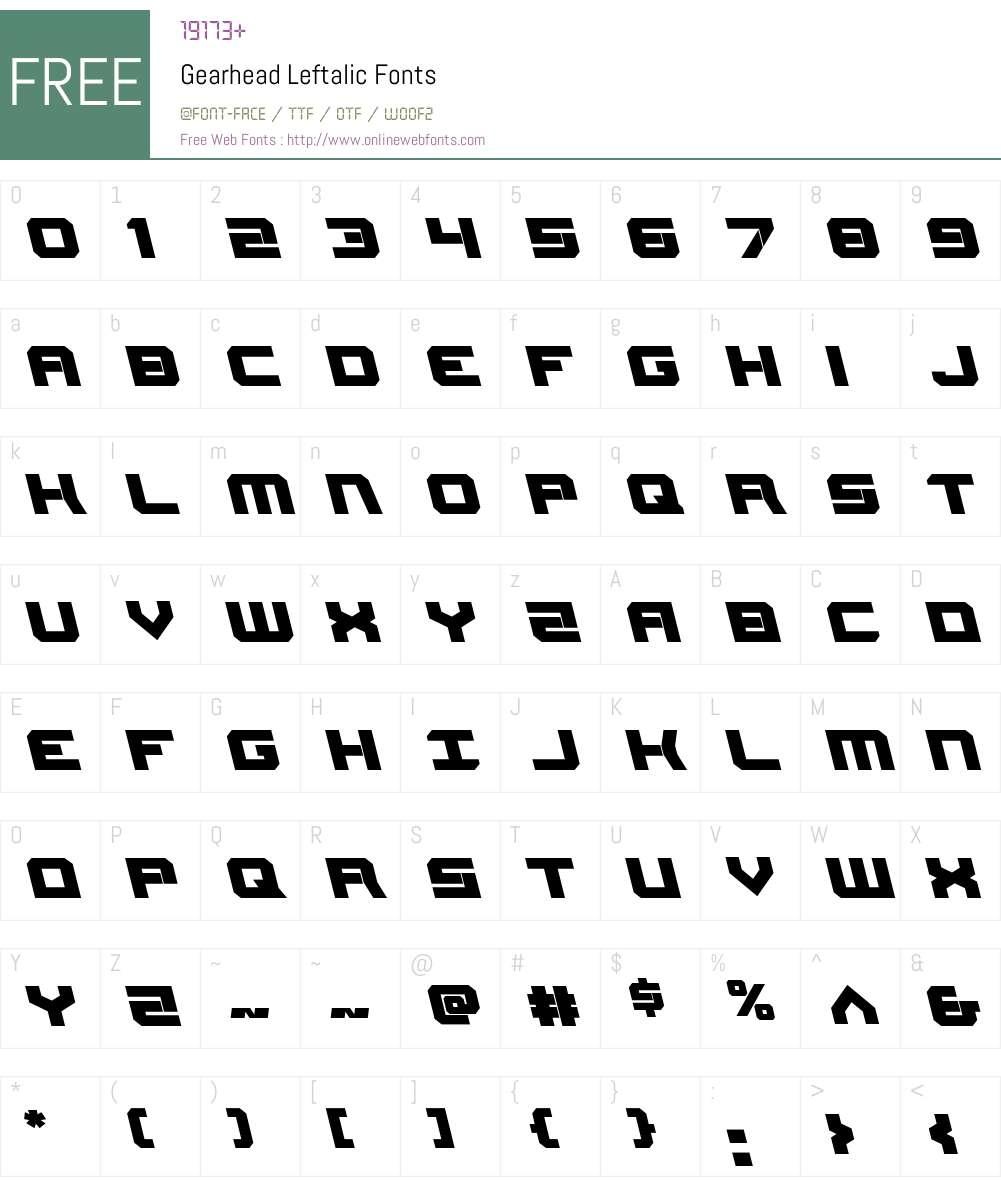 Gearhead Leftalic Font Screenshots