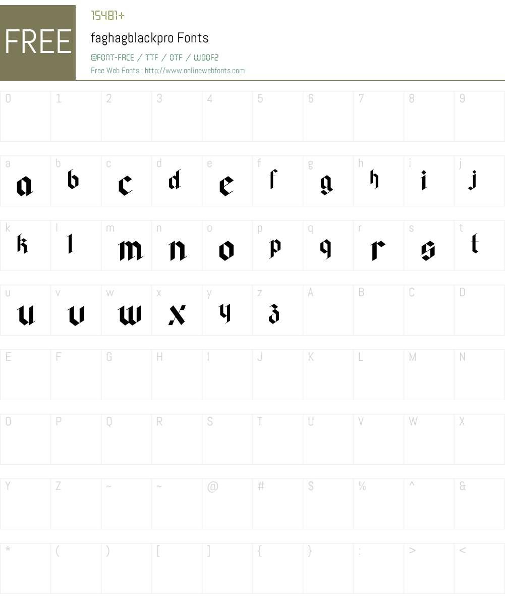 faghagblackpro Font Screenshots