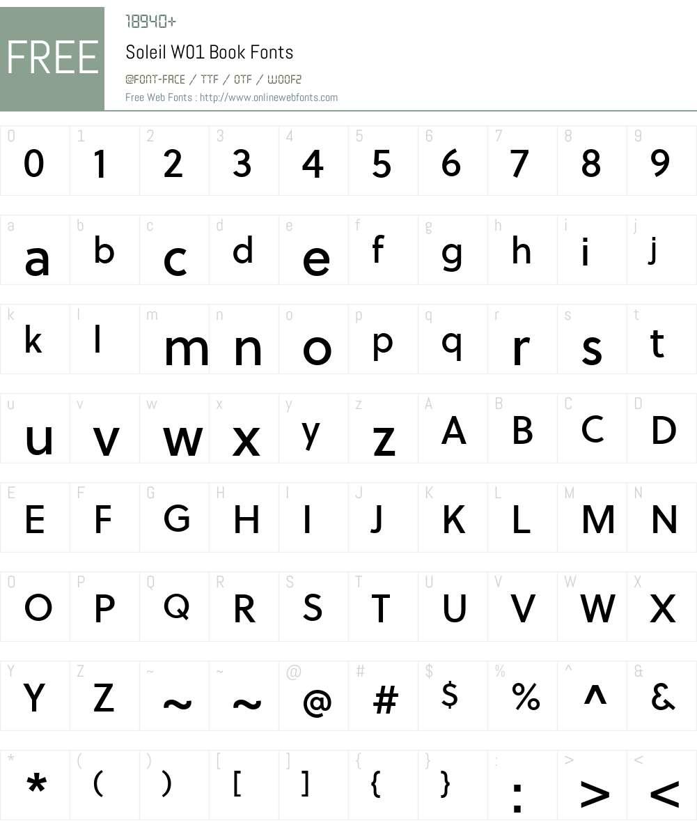 SoleilW01-Book Font Screenshots
