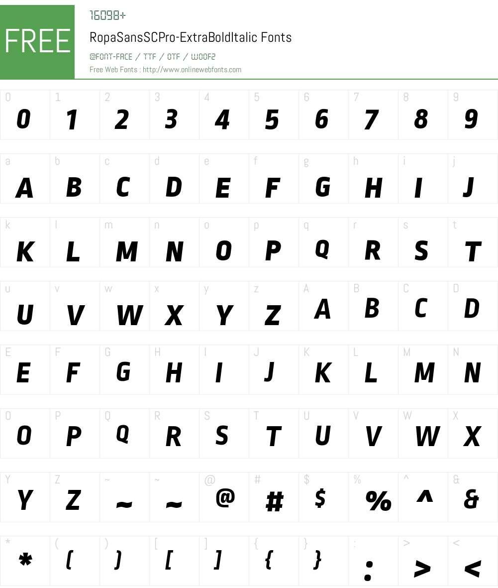Ropa Sans SC Pro ExtraBold Font Screenshots