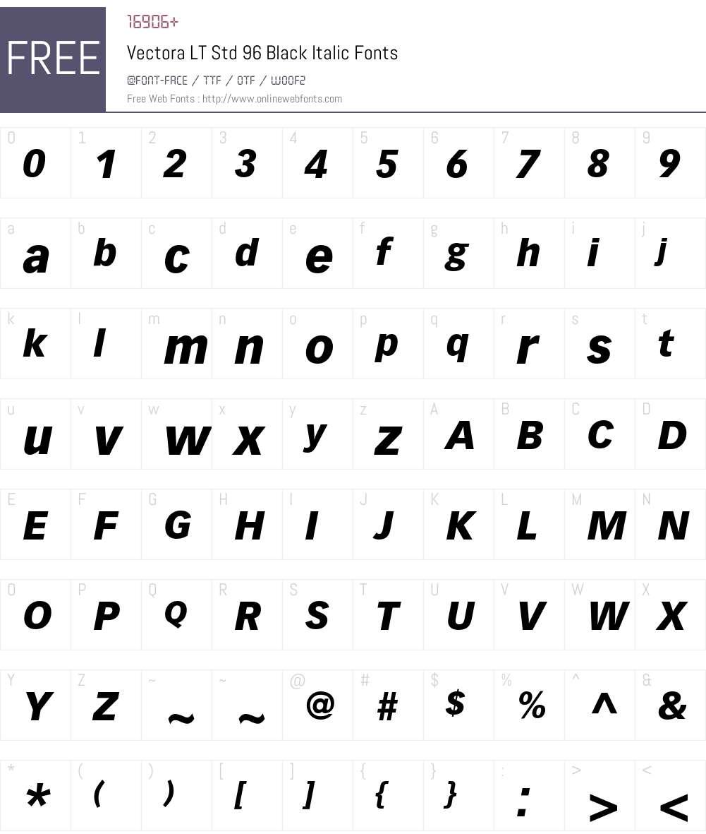 Vectora LT Std Font Screenshots